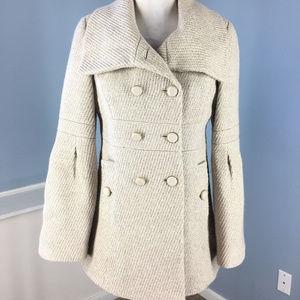 Ann Taylor Loft Xs 2 Beige Gold Woven Tweed coat